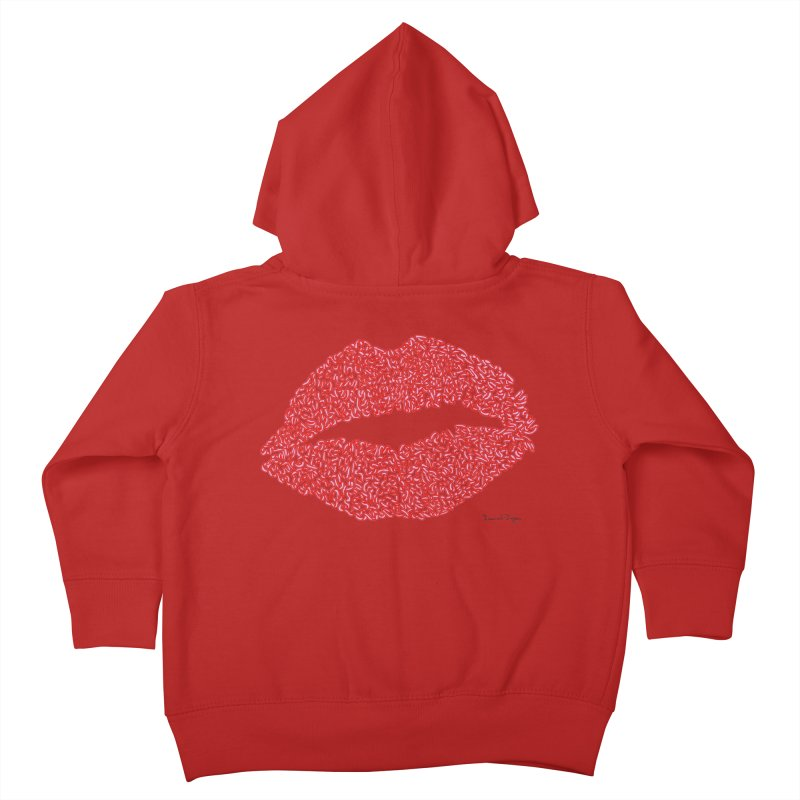 Kisses are the Answer (Red) Kids Toddler Zip-Up Hoody by Daniel Dugan's Artist Shop