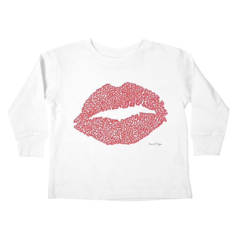 Kisses are the Answer (Red) Kids Toddler Longsleeve T-Shirt by Daniel Dugan's Artist Shop