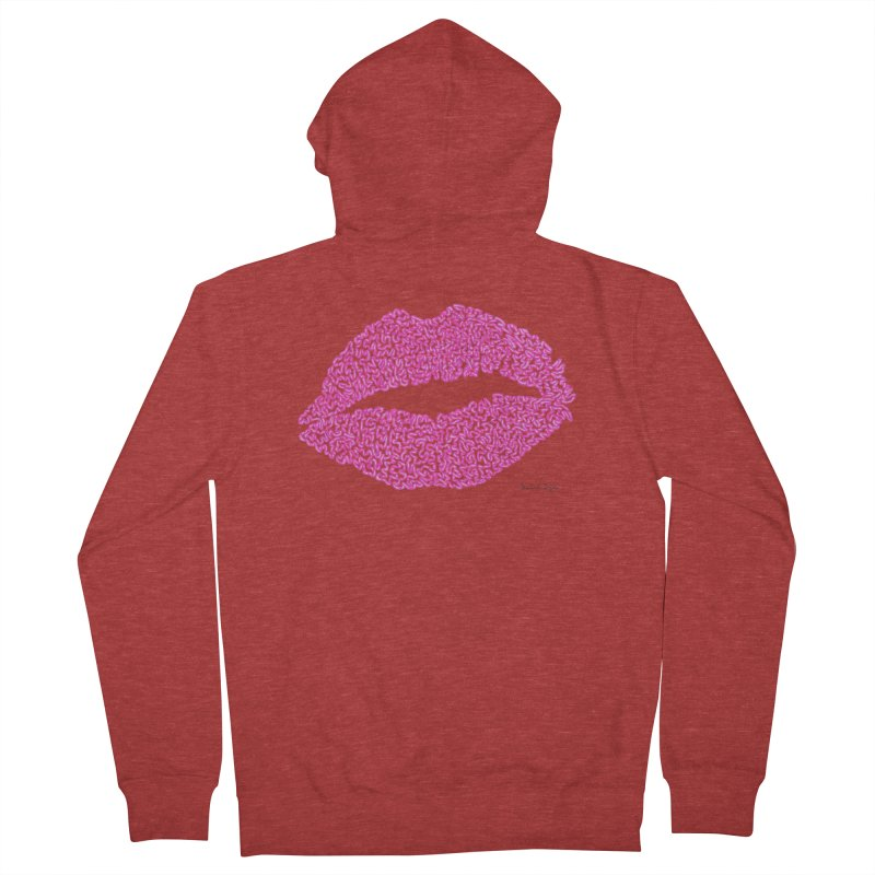 Kisses are the Answer (Pink) Men's Zip-Up Hoody by Daniel Dugan's Artist Shop