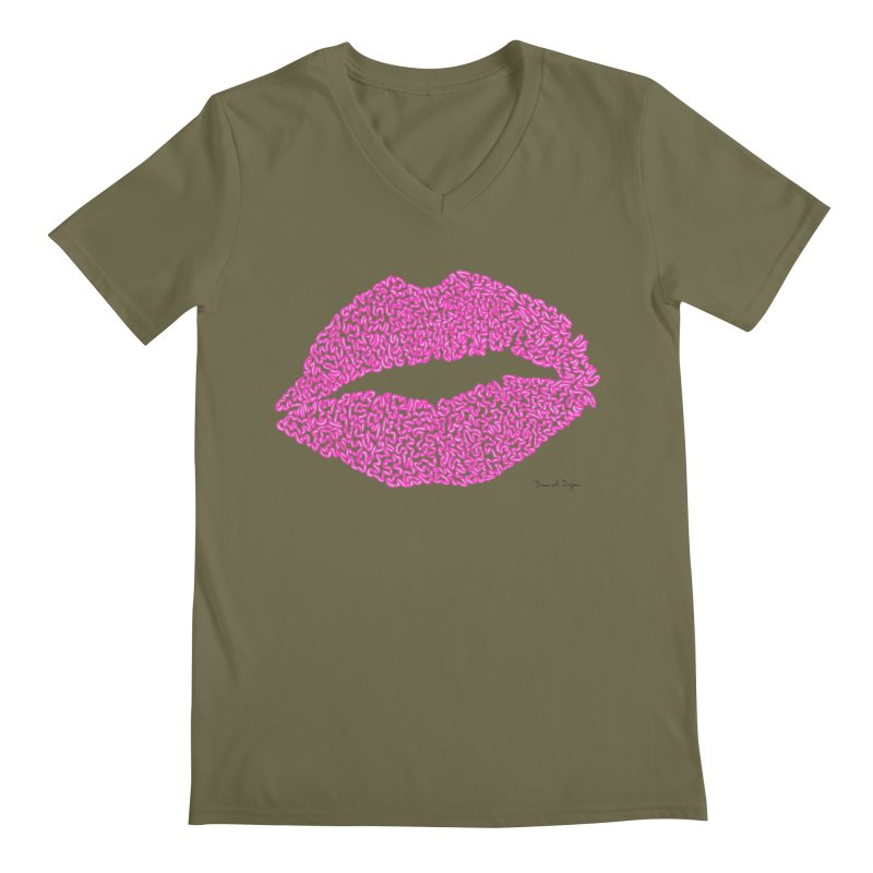 Kisses are the Answer (Pink) Men's V-Neck by Daniel Dugan's Artist Shop