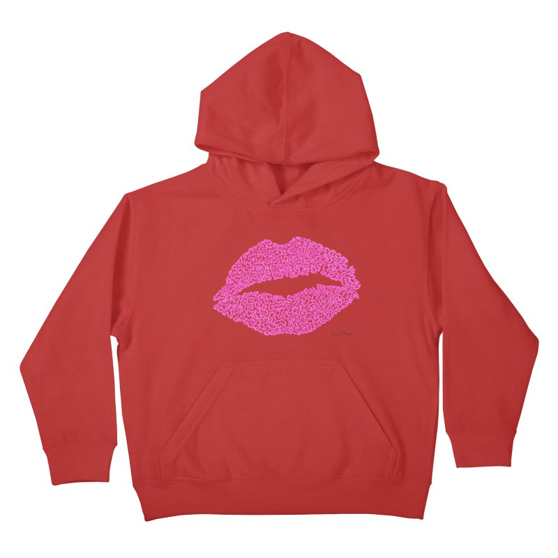 Kisses are the Answer (Pink) Kids Pullover Hoody by Daniel Dugan's Artist Shop