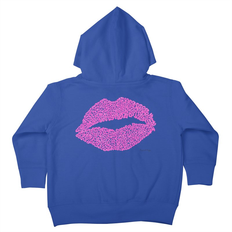 Kisses are the Answer (Pink) Kids Toddler Zip-Up Hoody by Daniel Dugan's Artist Shop