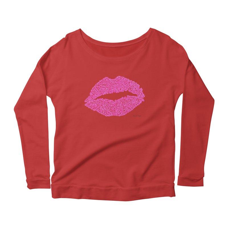 Kisses are the Answer (Pink) Women's Longsleeve Scoopneck  by Daniel Dugan's Artist Shop