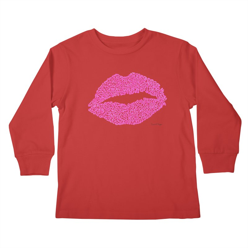 Kisses are the Answer (Pink) Kids Longsleeve T-Shirt by Daniel Dugan's Artist Shop