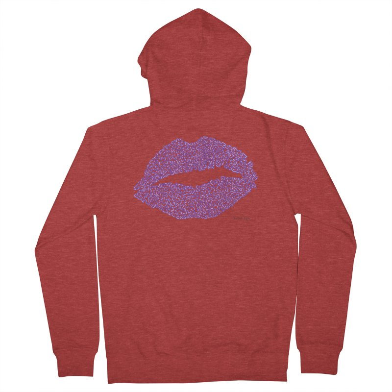 Kisses are the Answer (Purple) Men's Zip-Up Hoody by Daniel Dugan's Artist Shop