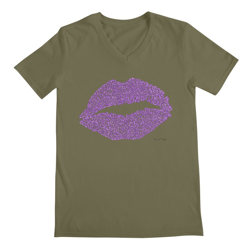 Kisses are the Answer (Purple) Men's V-Neck by Daniel Dugan's Artist Shop
