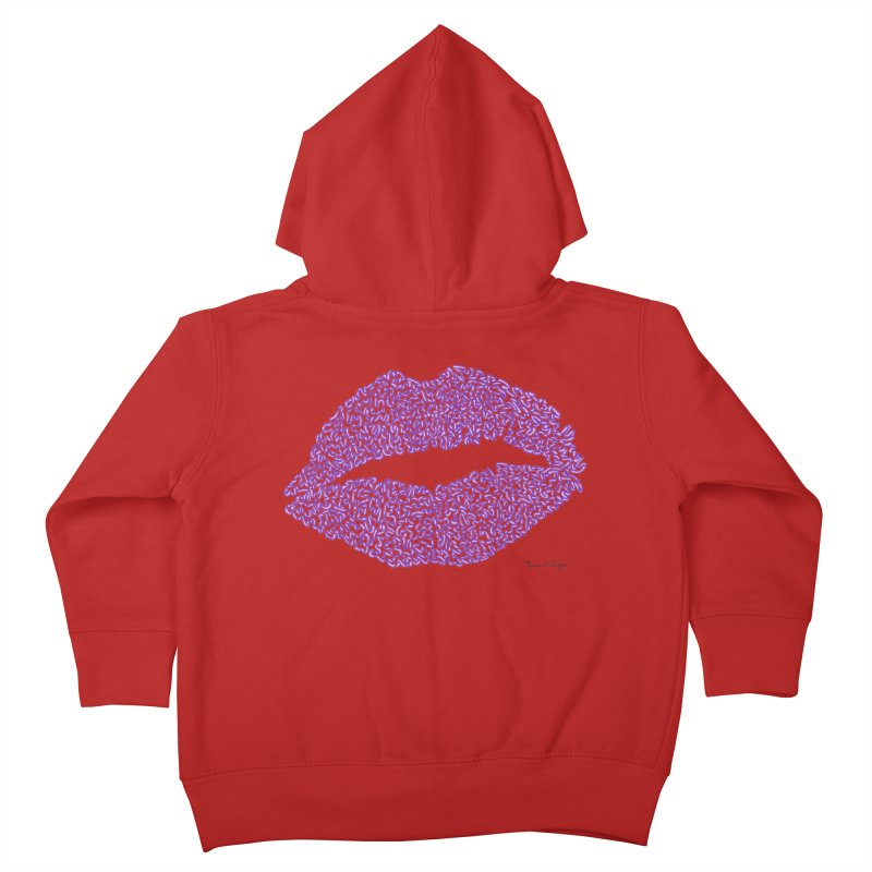 Kisses are the Answer (Purple) Kids Toddler Zip-Up Hoody by Daniel Dugan's Artist Shop