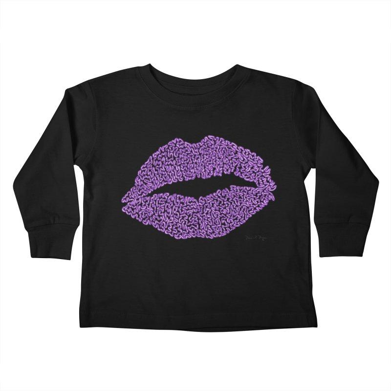 Kisses are the Answer (Purple) Kids Toddler Longsleeve T-Shirt by Daniel Dugan's Artist Shop