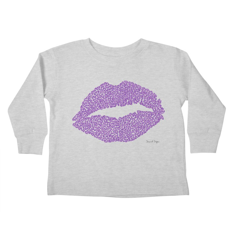 Kisses are the Answer (Purple) Kids Toddler Longsleeve T-Shirt by Daniel Dugan's Artist Shop