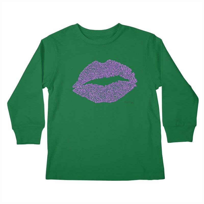 Kisses are the Answer (Purple) Kids Longsleeve T-Shirt by Daniel Dugan's Artist Shop