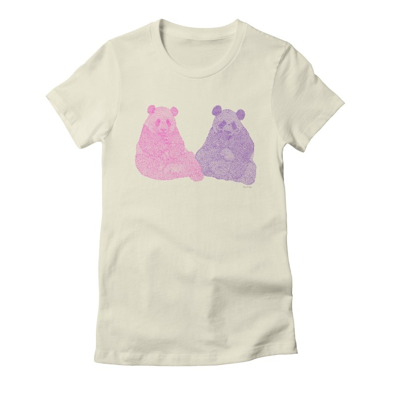 Playing Pandas Women's Fitted T-Shirt by Daniel Dugan's Artist Shop
