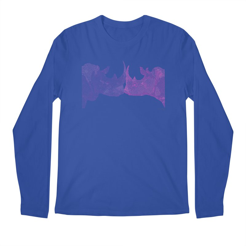 Kissing Rhinos Men's Longsleeve T-Shirt by Daniel Dugan's Artist Shop