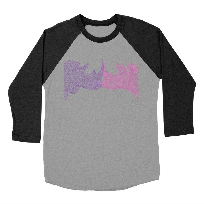 Kissing Rhinos Women's Baseball Triblend T-Shirt by Daniel Dugan's Artist Shop
