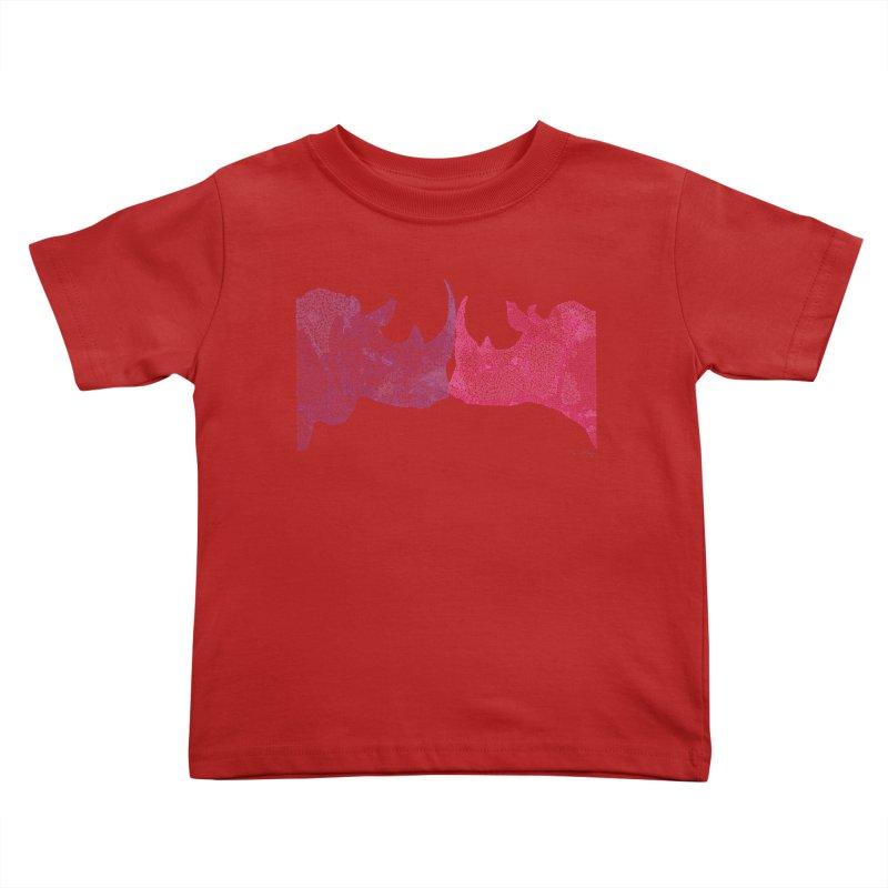 Kissing Rhinos Kids Toddler T-Shirt by Daniel Dugan's Artist Shop