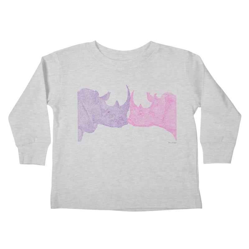 Kissing Rhinos Kids Toddler Longsleeve T-Shirt by Daniel Dugan's Artist Shop