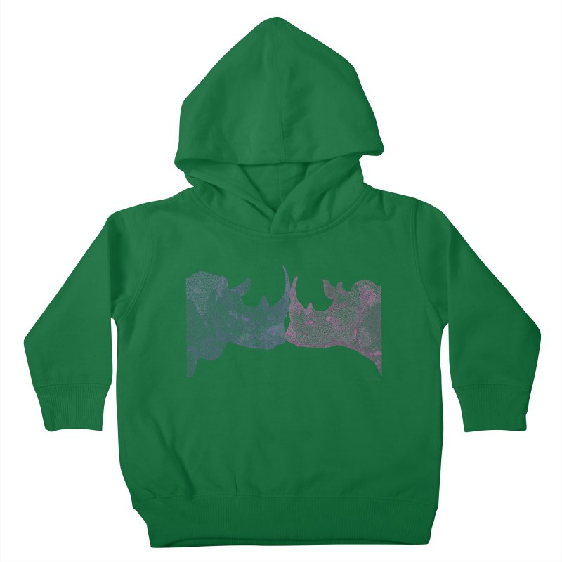 Kissing Rhinos Kids Toddler Pullover Hoody by Daniel Dugan's Artist Shop