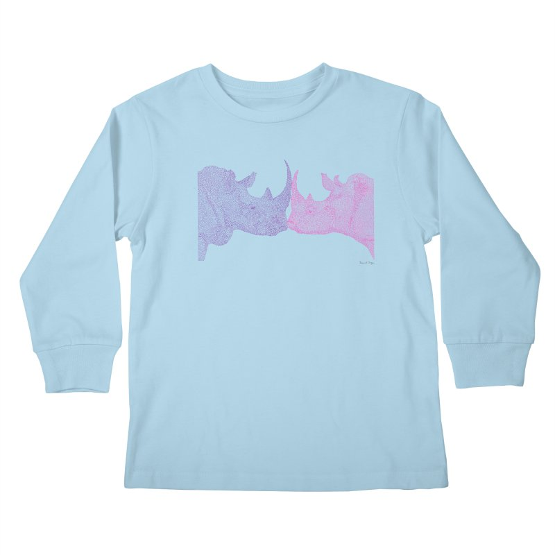 Kissing Rhinos Kids Longsleeve T-Shirt by Daniel Dugan's Artist Shop