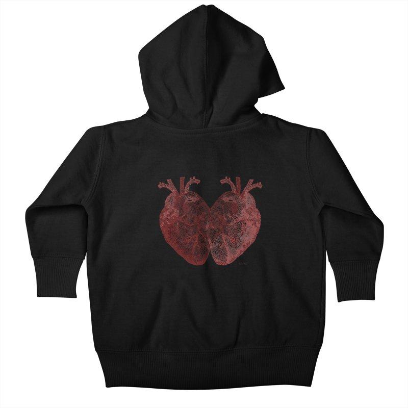 Heart to Heart Kids Baby Zip-Up Hoody by Daniel Dugan's Artist Shop