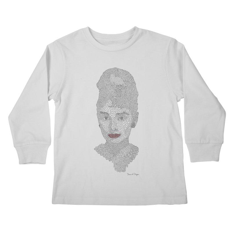 Audrey Hepburn Kids Longsleeve T-Shirt by Daniel Dugan's Artist Shop