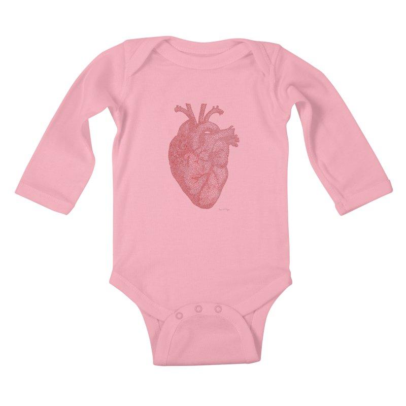 Anatomical Heart Kids Baby Longsleeve Bodysuit by Daniel Dugan's Artist Shop