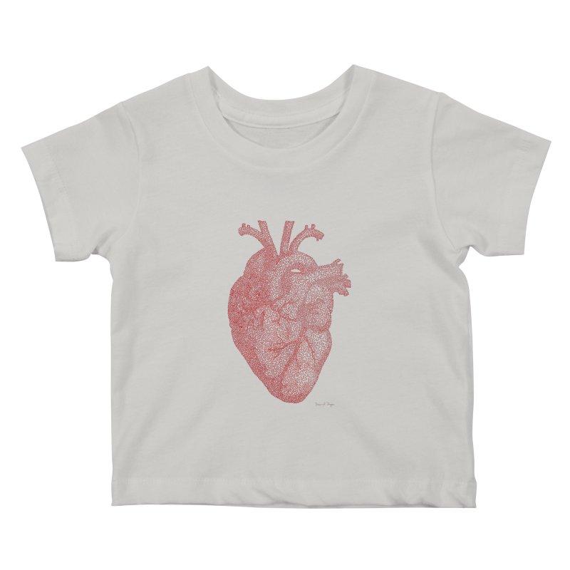 Anatomical Heart Kids Baby T-Shirt by Daniel Dugan's Artist Shop