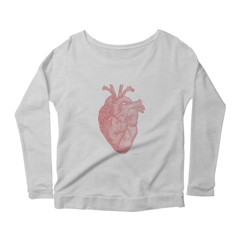 Anatomical Heart Women's Longsleeve Scoopneck  by Daniel Dugan's Artist Shop