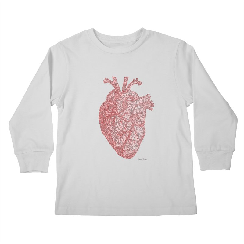 Anatomical Heart Kids Longsleeve T-Shirt by Daniel Dugan's Artist Shop