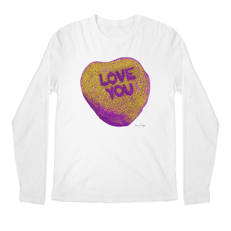 LOVE YOU Electric Yellow Men's Longsleeve T-Shirt by Daniel Dugan's Artist Shop