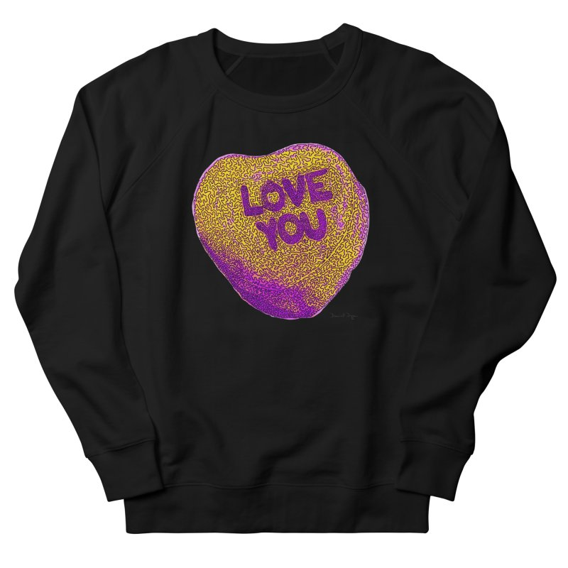 LOVE YOU Electric Yellow Men's Sweatshirt by Daniel Dugan's Artist Shop