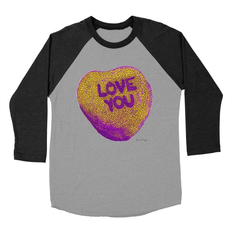 LOVE YOU Electric Yellow Women's Baseball Triblend T-Shirt by Daniel Dugan's Artist Shop