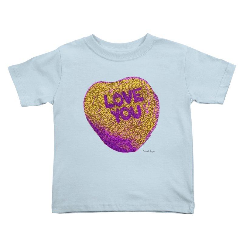 LOVE YOU Electric Yellow Kids Toddler T-Shirt by Daniel Dugan's Artist Shop