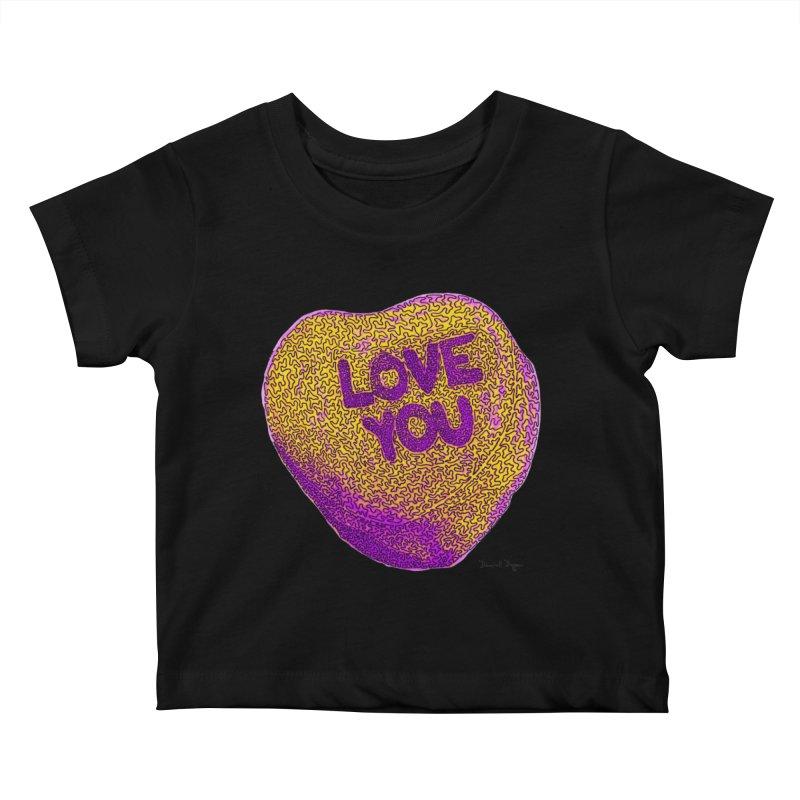 LOVE YOU Electric Yellow Kids Baby T-Shirt by Daniel Dugan's Artist Shop