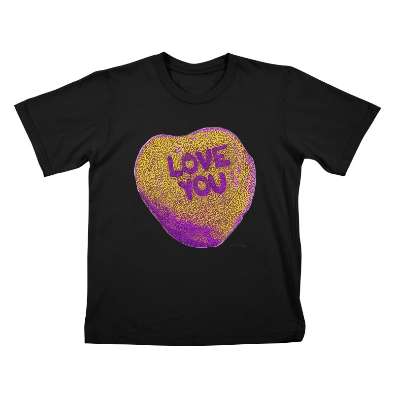 LOVE YOU Electric Yellow Kids T-shirt by Daniel Dugan's Artist Shop