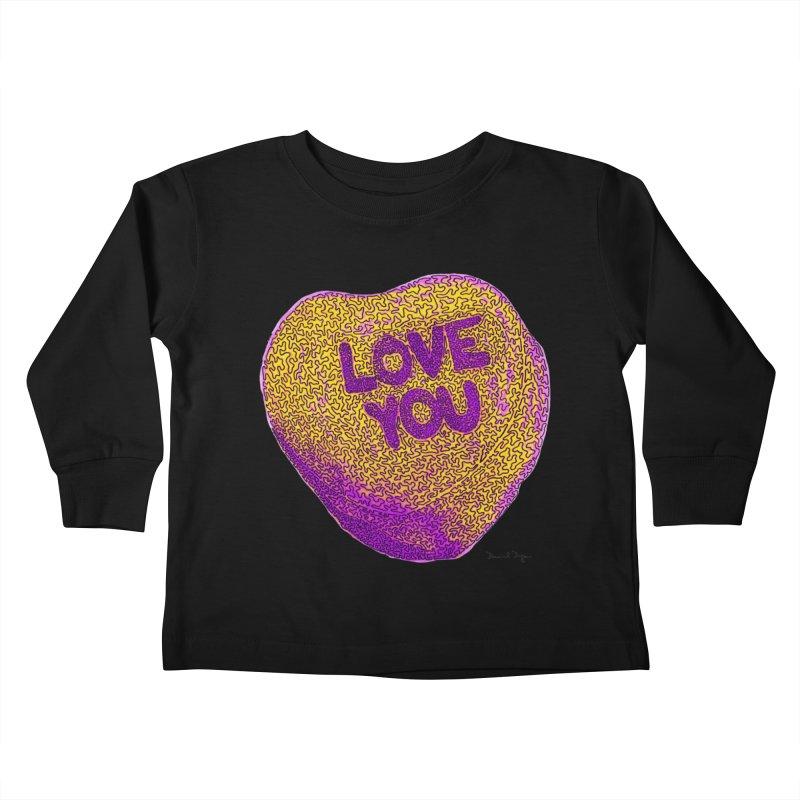 LOVE YOU Electric Yellow Kids Toddler Longsleeve T-Shirt by Daniel Dugan's Artist Shop