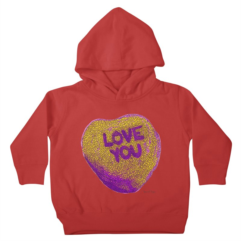 LOVE YOU Electric Yellow Kids Toddler Pullover Hoody by Daniel Dugan's Artist Shop