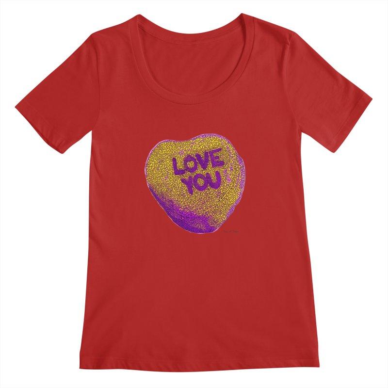 LOVE YOU Electric Yellow Women's Scoopneck by Daniel Dugan's Artist Shop