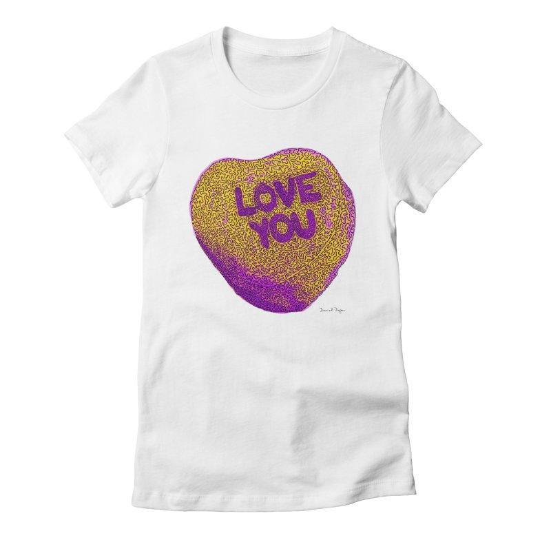 LOVE YOU Electric Yellow Women's Fitted T-Shirt by Daniel Dugan's Artist Shop