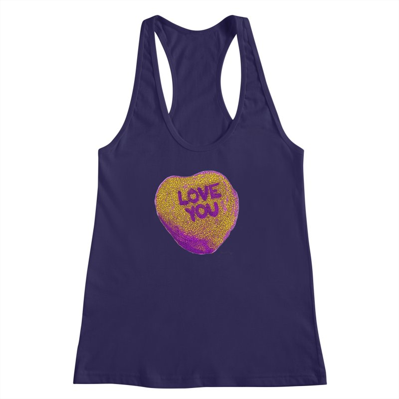 LOVE YOU Electric Yellow Women's Racerback Tank by Daniel Dugan's Artist Shop