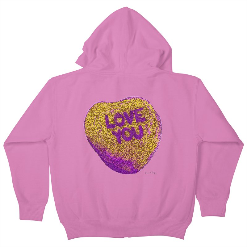 LOVE YOU Electric Yellow Kids Zip-Up Hoody by Daniel Dugan's Artist Shop