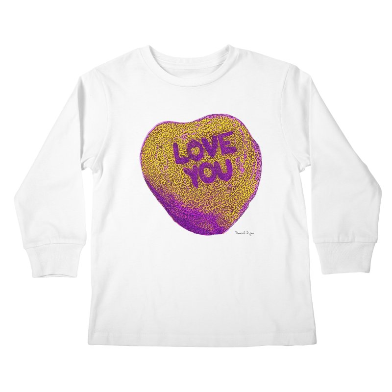 LOVE YOU Electric Yellow Kids Longsleeve T-Shirt by Daniel Dugan's Artist Shop