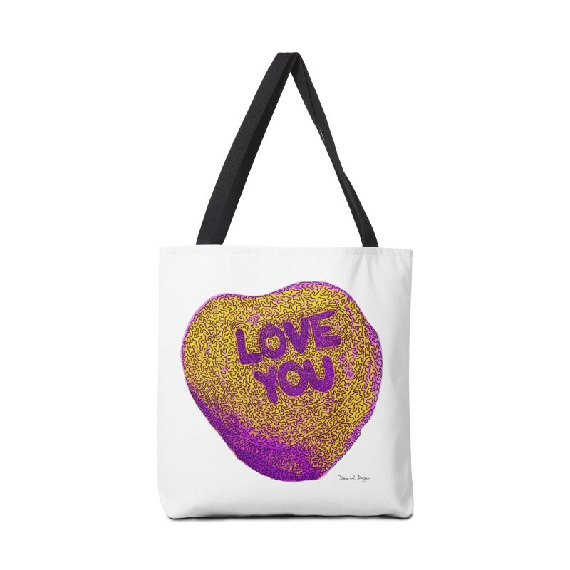 LOVE YOU Electric Yellow Accessories Bag by Daniel Dugan's Artist Shop