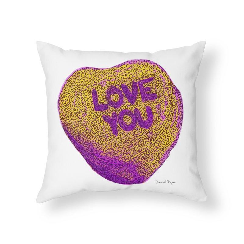 LOVE YOU Electric Yellow Home Throw Pillow by Daniel Dugan's Artist Shop