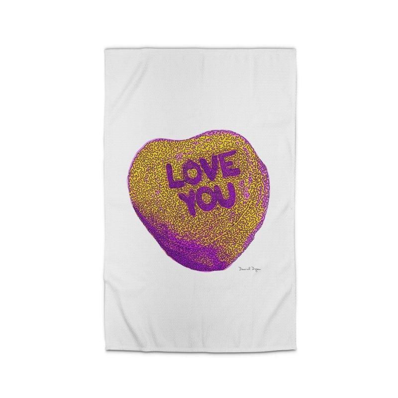LOVE YOU Electric Yellow Home Rug by Daniel Dugan's Artist Shop