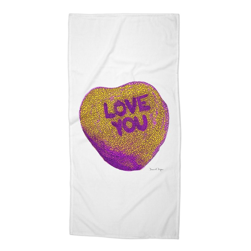 LOVE YOU Electric Yellow Accessories Beach Towel by Daniel Dugan's Artist Shop