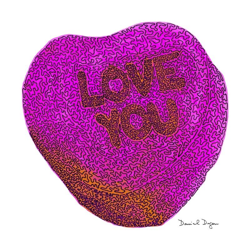 LOVE YOU Electric Pink + Orange Kids Baby Bodysuit by Daniel Dugan's Artist Shop