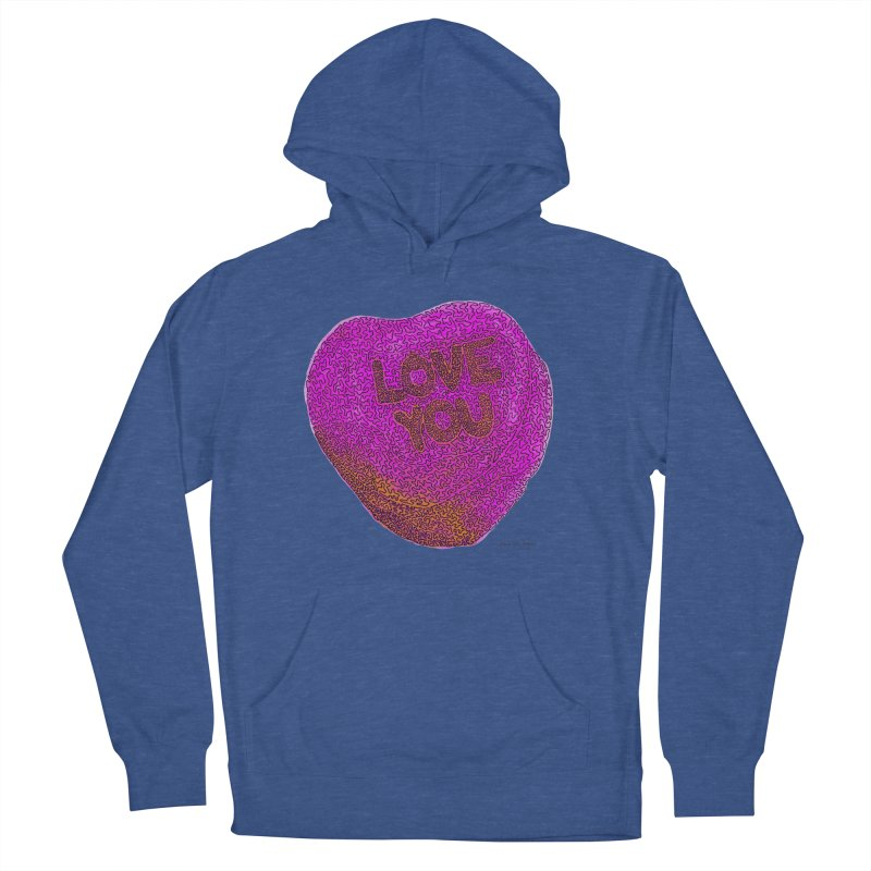 LOVE YOU Electric Pink + Orange Women's Pullover Hoody by Daniel Dugan's Artist Shop