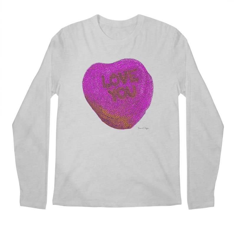 LOVE YOU Electric Pink + Orange Men's Longsleeve T-Shirt by Daniel Dugan's Artist Shop