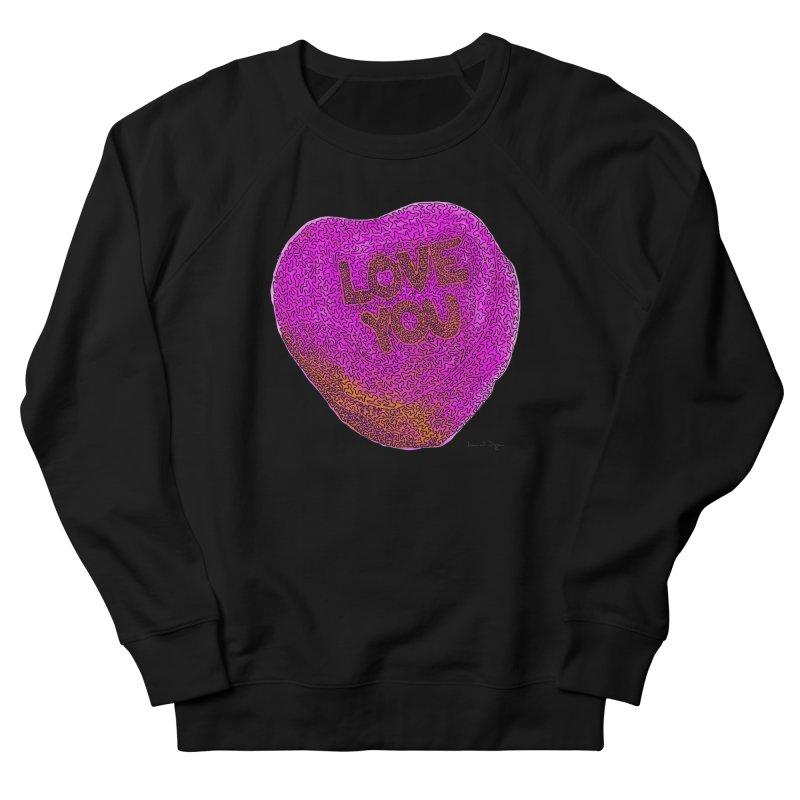 LOVE YOU Electric Pink + Orange Women's Sweatshirt by Daniel Dugan's Artist Shop