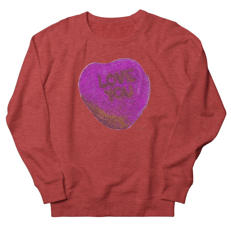 LOVE YOU Electric Pink + Orange Men's Sweatshirt by Daniel Dugan's Artist Shop