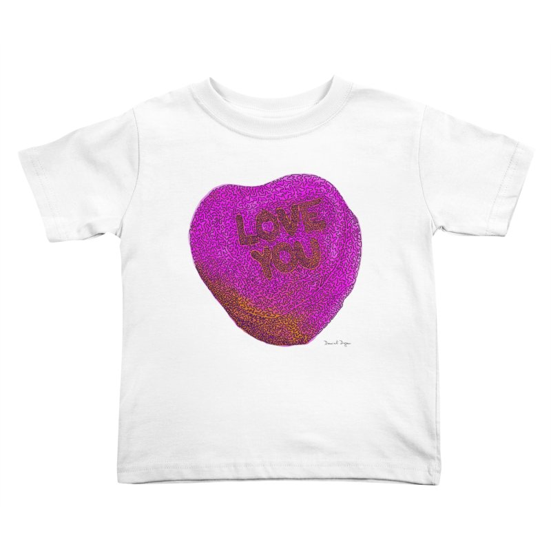 LOVE YOU Electric Pink + Orange Kids Toddler T-Shirt by Daniel Dugan's Artist Shop